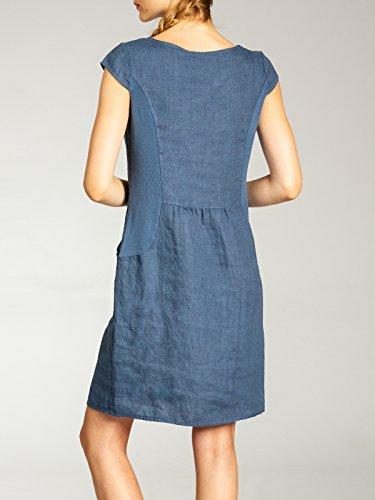 Decorativi Blu CASPAR di Donna SKL018 con Vestito Bottoni Estivo Lino Jeans zcz1U8xn