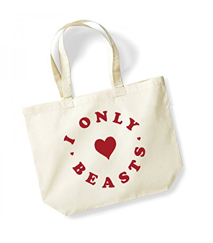 I Only Heart Beasts - Large Canvas Fun Slogan Tote Bag Natural/Red