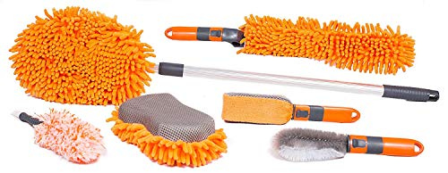 BIRDROCK HOME 6 PCS Car Wash and Cleaning Kit – Microfiber Cleaner – Auto Care – Exterior and Interior Cleaning – Tire Wheel Brush – Sponge – Duster – Extendable Cleaning Tool – Detailing Set