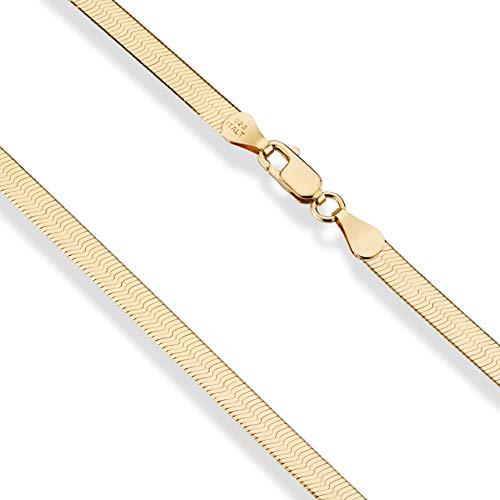 (MiaBella 18K Gold Over Sterling Silver Italian Solid 4.5mm Flat Herringbone Chain Bracelet Men Women 7