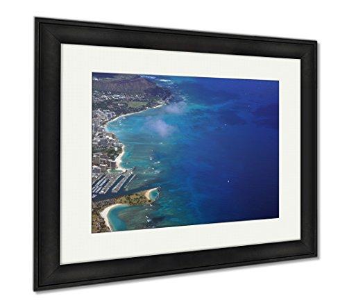 Ashley Framed Prints Waikiki Ala Moana Beach Park Kapiolani Park Harbor Condos Di, Office/Home/Kitchen Decor, Color, 30x35 (frame size), Black Frame, - Ala Center Moana Waikiki