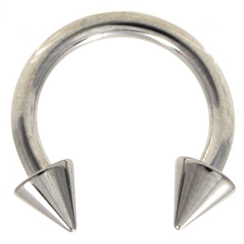14G(1.6mm) Stainless Steel Circular Piercing Barbells Horseshoe Rings w/Spike Ends (Sold in Pairs) (14 Gauge 3/8