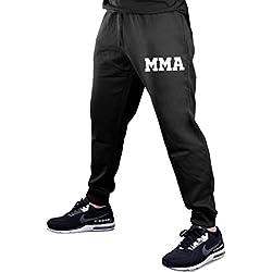 Men's Old School MMA V441 Black Fleece Gym Jogger Sweatpants Large Black