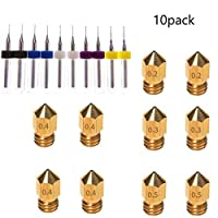 Kee Pang 10pcs MK8 Extruder Nozzle (0.2mm 0.3 mm 0.4mm 0.5mm) Extruder Brass Nozzle Print Head +10 pcs Drill Bits Extruder Nozzle Cleaner For Universal MK8 3D Printer by Kee pang