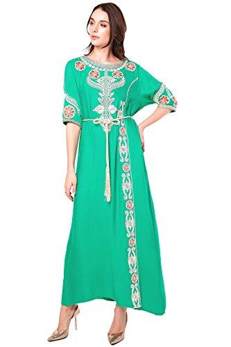 Women 1712 14 Dress Abaya Clothing Dubai Jalabiya Muslim Islamic Embroidery Long LF green qEafwxZ