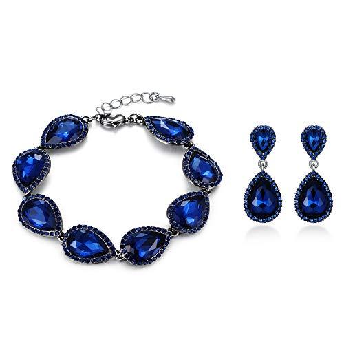 EVER FAITH Rhinestone Crystal Stunning Wedding Teardrop Pierced Earrings Bracelet Set Blue Black-Tone