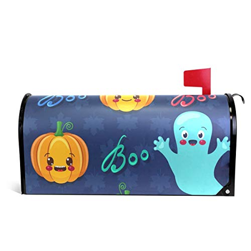 Cute Pumpkins and Spooks Halloween Letter Post Box Cover Wrap Decoration Welcome Home Garden Outdoor,Vinyl Mailbox Wraps Holiday Standard 6.5 x 19 inch