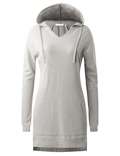 Regna X Women's Long Sleeve Kangaroo Pocket Hoodie Sweatshirts L Gray XXL