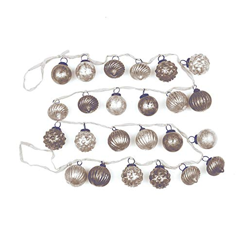 Creative Co-op Distressed White & Grey Embossed Mercury Glass Ornament Fabric String Garland, Multicolor (Ornament Glass Mercury Christmas)