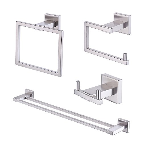Kes 4-Piece Bathroom Accessory Set, Includes Double Towel Bar, Toilet Paper Holder, Towel Ring, Double Robe Hook - SUS 304 Stainless Steel Brushed Finish Wall Mount, LA242-43 (Set Double Towel Bar)