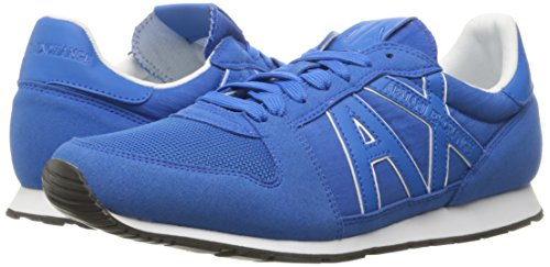 A|X Armani Exchange Men's Retro Running Fashion Sneaker, Lapis Blue/Cobalt, 7 M US Photo #6