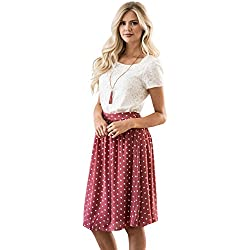 Mikarose Chiffon Modest Skirt In Dark Mauve w/Polka Dots