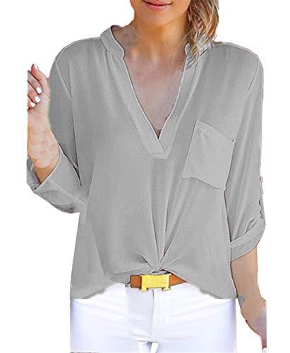 Chemises Tee Tops Gris Printemps Automne JackenLOVE Shirts Unie Couleur Casual Col Chemisiers V Blouses Mode Hauts Femmes Longues Manches zTqFwq6