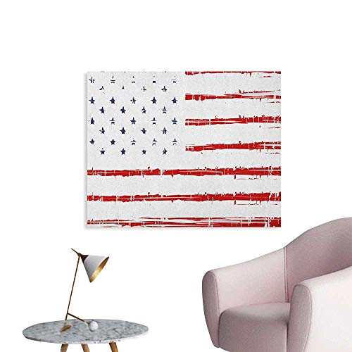 Anzhutwelve American Wallpaper Vector Grunge Texture Flag of United States of America Illustration Print Funny Poster Blue White and Red W36 xL32 ()