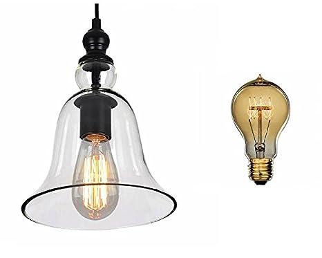 Plafoniere Vetro Vintage : Lampadario sospensione in vetro campana stile vintage industriale