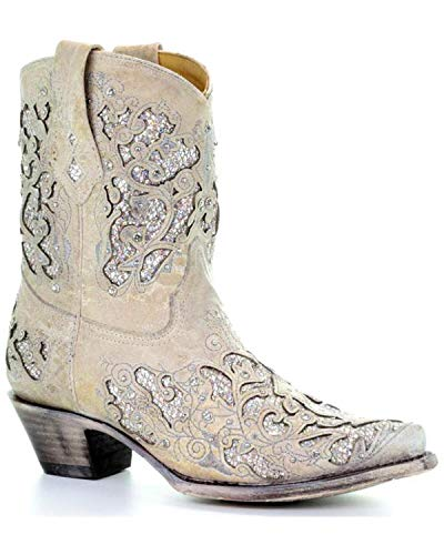 White Cowboy Boots For Wedding (Corral Boots Women's A3550 White Glitter 9 B)