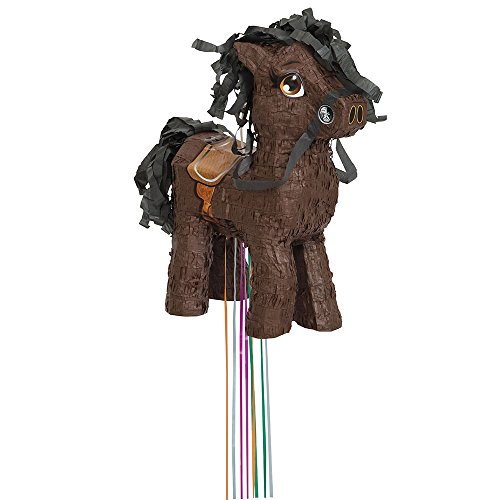 Unique Industries FBA_65988 Brown Horse Pinata, Pull String, ()