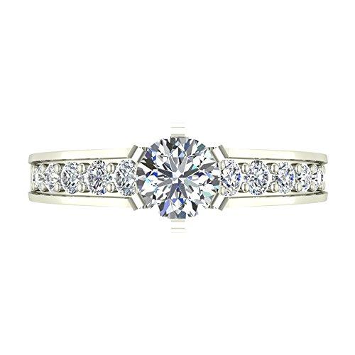 1.00 ctw Riviera Shank Diamond Engagement Ring 18K Gold (G,SI)
