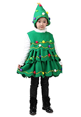 Multifit Kids Cute Christmas Tree Costume Accessory Toddlers Christmas Tree Costume with Hat(Medium)