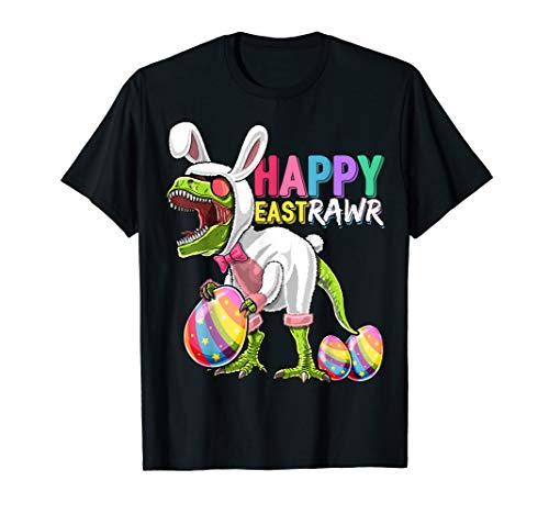 Happy Eastrawr T Rex Dinosaur Easter Bunny Egg Shirt ()