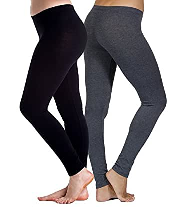 2 Pack Womens Cotton Spandex Leggings by In Touch (Black/Charcoal-Small)