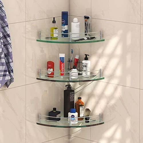 Klaxon-Premium-Transparent-Glass-Shelf-for-BathroomWall-ShelfStorage-Shelf-9×9-Inches-Pack-of-3