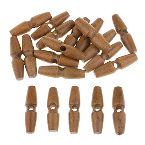 Prettyia 20Pcs Wooden Toggle Buttons for Duffle Coat Sewing, Crafts, Jewelery Making