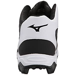 Mizuno Men's 9-Spike Advanced Franchise 9 Molded Cleat-Mid Baseball Shoe, Black/White, 11.5 D US
