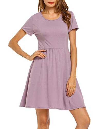 Pinsparkle Women Short Sleeve Cotton Floral Printed Fit and Flare Dress, Lilac, M