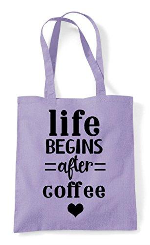 Life Statement Begins Shopper After Coffee Lavender Bag Tote nz4vzST