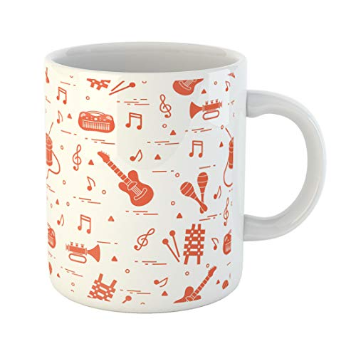 Emvency Funny Coffee Mug Sheet Music and Different Musical Toys Guitar Drum Trumpet Xylophone Maracas 11 Oz Ceramic Coffee Mug Tea Cup Best Gift Or -