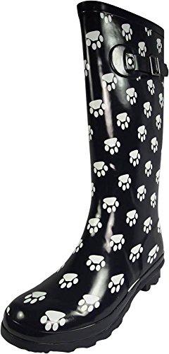 (NORTY - Womens Hurricane Wellie Gloss Hi-Calf Paw Printed Rain Boot, Navy 39699-8B(M) US)