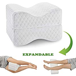 Coisum Knee Pillow for Side Sleepers – Upgraded Foldable & Expandable Leg Pillow for Sciatica, Back Pain, Leg, Hip, Joint Pain – Orthopedic Memory Foam Knee Pillow for Side & Back Sleepers, Pregnancy.