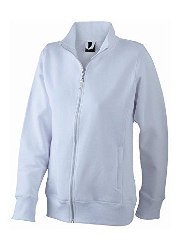 Chaqueta Mujer Hecha de Felpa con cremallera Sweat-Shirt Hoodie tamaño S a 3XL White