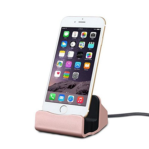 ANLOER iPhone Charger Dock, Aluminum Charge Data Sync Desktop Stand Charging Cradle Dock Station Holder with Lightning Connector for iPhone X 8 7 7 Plus SE 6S 6 6S Plus (Desktop Sync Cradle)