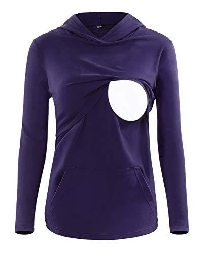 SUNNYBUY Women's Long Sleeve Nursing Top Shirt Maternity Breastfeeding Tops Clothes Casual Sweatshirt with Pocket Purple