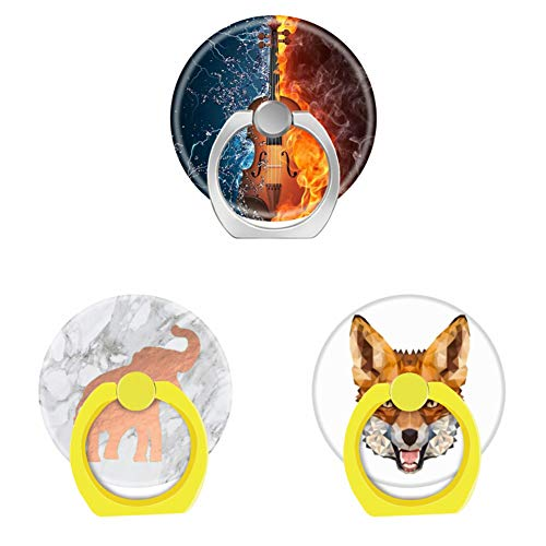 (Bsxeos 360°Rotation Cell Phone Ring Holder with Car Mount Work for All Smartphones and Tablets-Cute Rose Gold Elephant on White Marble-Geometric Fox-Guitar Fire Wate(3 Pack))