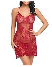 Avidlove Women Lace Bodydoll Spaghetti Strap Criss Cross Backless Lingerie