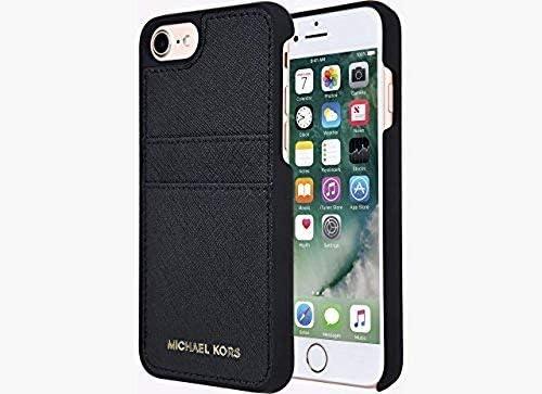 Michael Kors Saffiano Cuir Poche Coque pour iPhone 8 et iPhone 7, Noir