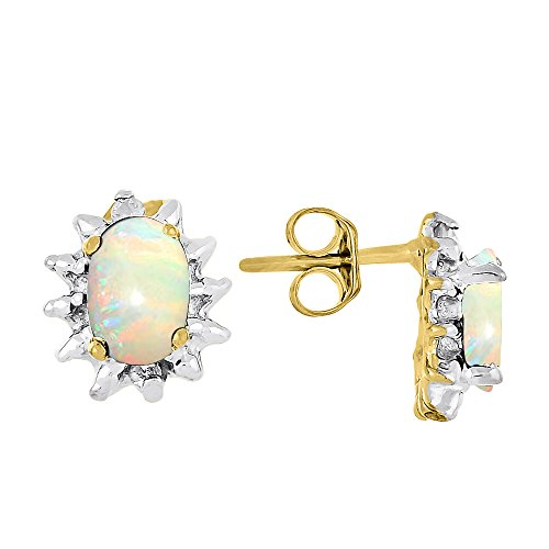 October Birthstone Earrings - Opal in 14K Yellow Gold or 14K White (Diamond October Birthstone Earrings)