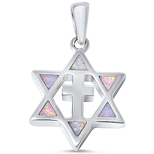 (Lab Created Opal Star of David with Cross .925 Sterling Silver Pendant Colors Available (Lab Created White Opal Sterling Silver) )