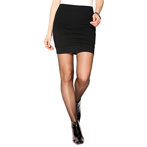 Venca Noir Jupe Élastique Courte Unie Femme 118049 rrqBT4a