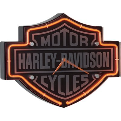 Harley Davidson Etched Bar & Shield Shaped Neon Clock