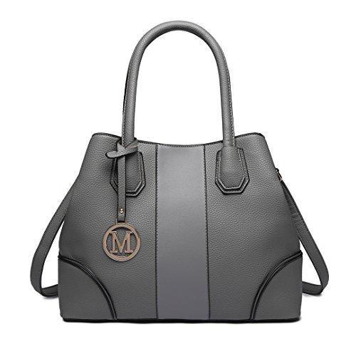 Miss Lulu Leather Look V-Shape Shoulder Handbag Elegant Design Top Handle  Fashion Handbags for Women. Colour Name  Purple e602876258a11