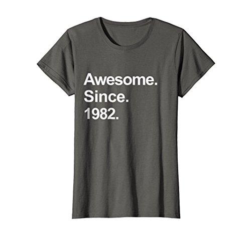Womens Awesome Since 1982 Shirt Cool 36th Birthday Gifts TShirt Medium Asphalt -
