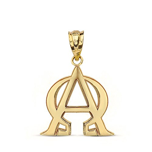 Solid 14k Yellow Gold Alpha and Omega Christian Symbols Charm Pendant