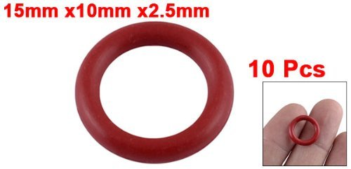 sourcingmap/® 10 Pcs Soft Rubber O Rings Seal Washer Replacement Red 15mm x 2.5mm