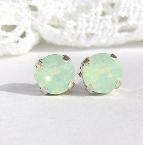 6mm mint green rhinestone stud earrings made with Swarovski crystals