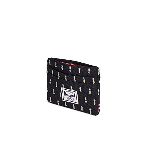 Pineapple Credit Case Embroidery Black Wallet Charlie Card Herschel RFID q7a6ga