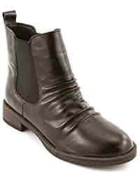 Comfortiya Women's Carissa Leather Casual Low Heel Pleated Chelsea Ankle Boot